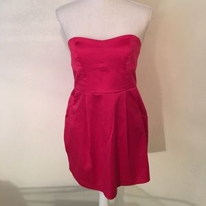 Forever 21 hot pink satin strapless dress size M